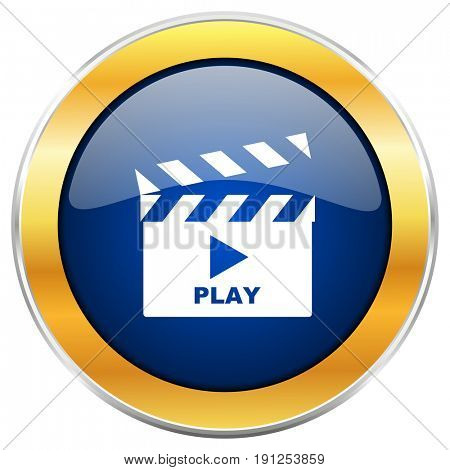 Play video blue web icon with golden chrome metallic border isolated on white background for web and mobile apps designers.