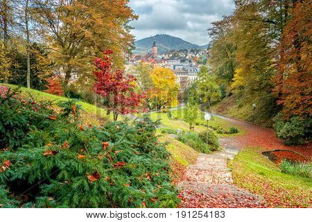 Beautiful autumn city landscape. Baden Baden. Germany