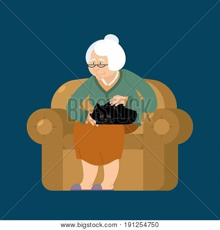 Grandmother And Cat Sitting On Chair. Granny Cat Lady. Grandma And Pet. Old Woman And Animal. Gammer
