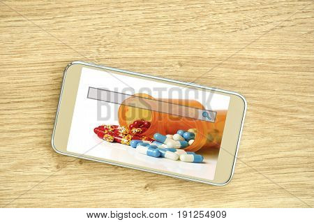 E-ordering and refill prescription online with smart phone concept.