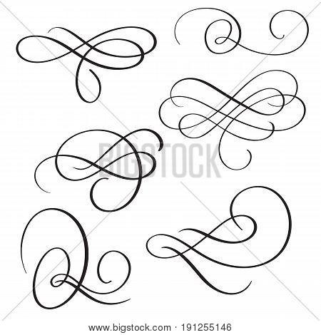 set of vintage flourish decorative art calligraphy whorls for design. Vector illustration EPS10.