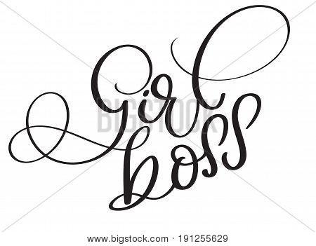 Girl boss vector vintage text. Calligraphy lettering illustration EPS10 on white background.