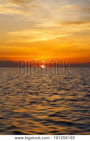 Sunrise Boat Sea In Thailand Kho Tao Baysouth China Sea