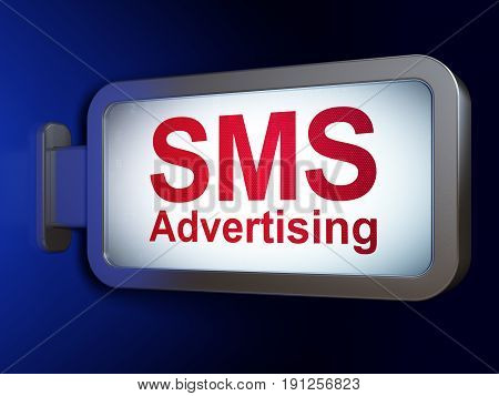 Advertising concept: SMS Advertising on advertising billboard background, 3D rendering