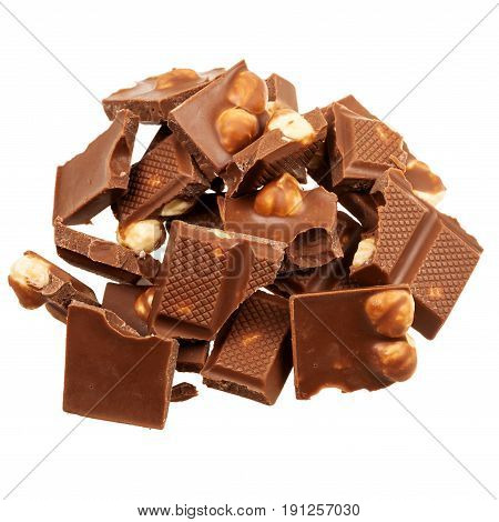 Milk chocolate with nuts isolated on white background