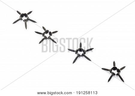 Five-pointed Stars Lined Diagonally With Black Screws On A White Background