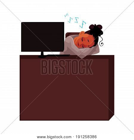 Black, African American businesswoman, secretary, sleeping, snoozing at office desk, cartoon vector illustration isolated on white background. Black businesswoman, secretary snoozing at computer