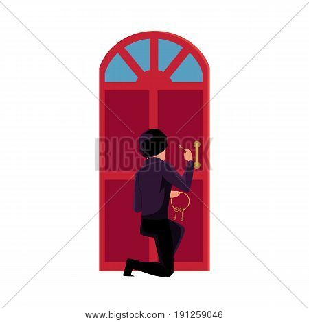 Thief, burglar trying to break in house by lockpicking door, cartoon vector illustration isolated on white background. Burglar, robber, thief in disguise breaking into house, trying to force open door