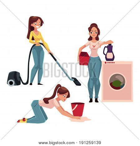 Young woman, housewife doing chores - washing and vacuum cleaning the floor, cartoon vector illustration isolated on white background. Womanw ashing clothes, girl cleaning her house, ironing