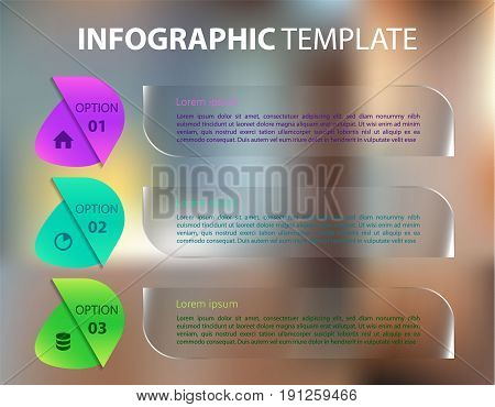 Modern Colorful Infographics Options Template Vector With Transparent Rectangle On Blured Background