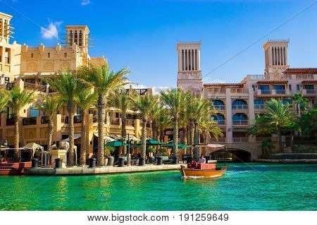DUBAI UAE - MAY 2014: The restaurant abra and hotel Al Qasr Madinat Jumeirah complex. The view from the abra