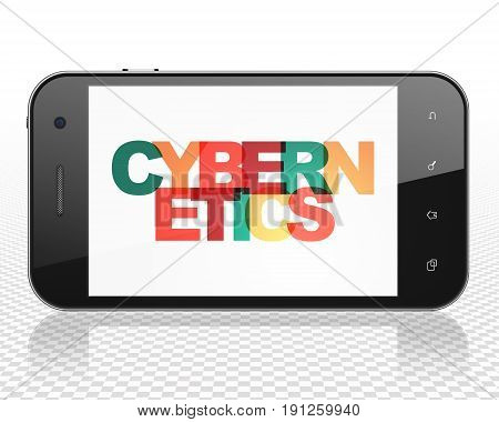 Science concept: Smartphone with Painted multicolor text Cybernetics on display, 3D rendering