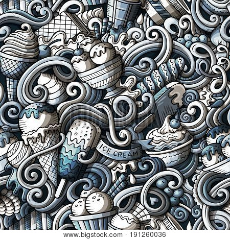 Cartoon hand-drawn ice cream doodles seamless pattern. Momochrome detailed, with lots of objects vector background