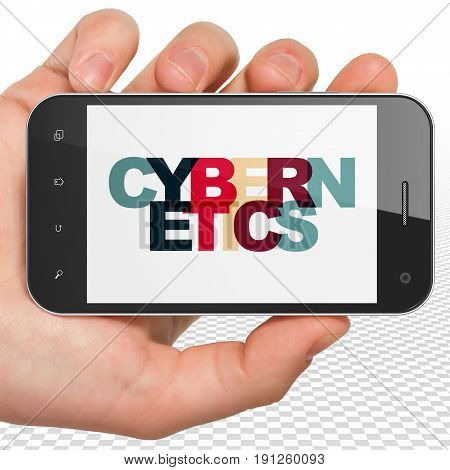 Science concept: Hand Holding Smartphone with Painted multicolor text Cybernetics on display, 3D rendering