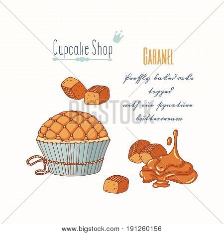 Hand drawn cupcake with doodle buttercream for pastry shop menu. Caramel candy flavor. Vector illustration