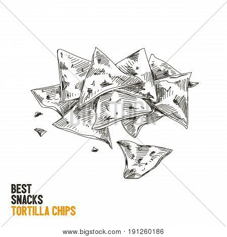 Vector hand drawn snack and junk food Illustration. Tortilla chips. Vintage style sketch.