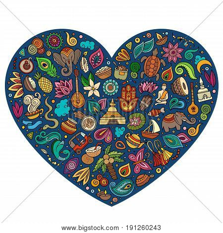 Colorful vector hand drawn set of Indian cartoon doodle objects, symbols and items. Heart form composition