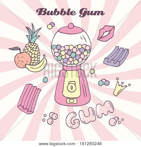 Hand drawn bubble gum machine with gumballs, bubblegum and handwritten sign. Candy color background. Multifruit flavor. Vector illustration