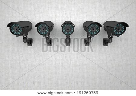 group of surveillance cameras look arround. 3d rendering