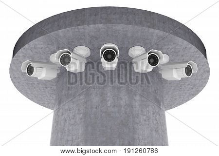 group of surveillance cameras look around. 3d rendering
