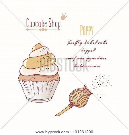 Hand drawn cupcake with doodle buttercream for pastry shop menu. Poppy flavor. Vector illustration