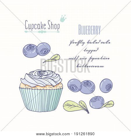 Hand drawn cupcake with doodle buttercream for pastry shop menu. Blueberry flavor. Vector illustration