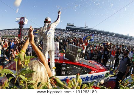 June 11, 2017 - Long Pond, PA, USA: Ryan Blaney (21)celebrates in victory lane after winning the Pocono 400 at Pocono Raceway in Long Pond, PA.