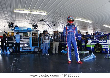 June 09, 2017 - Long Pond, PA, USA: Darrell Wallace, Jr. (43) hangs out in the garage prior to practice for Pocono 400 at Pocono Raceway in Long Pond, PA.