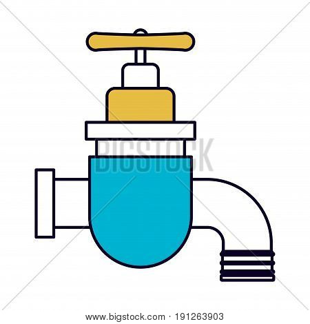 color sections silhouette of faucet icon vector illustration