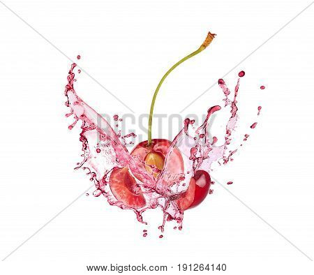 Blast of cherry with juice on white background
