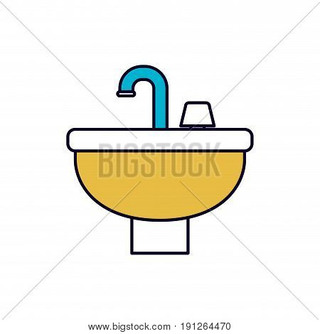 color sections silhouette of washbasin icon vector illustration
