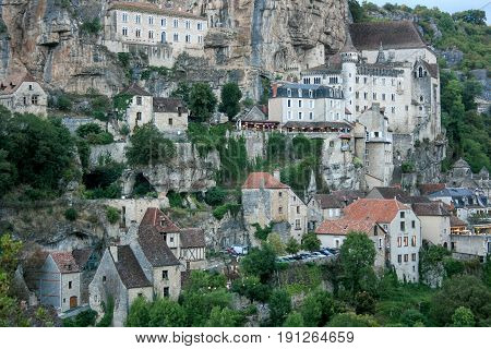 View on Rocamadour village in Southwestern France