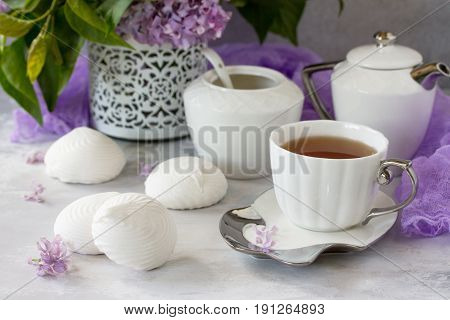 Delicate Vanilla Marshmallow On A White Delicate Plate. Still Life With Marshmallows, A Cup Of Tea A