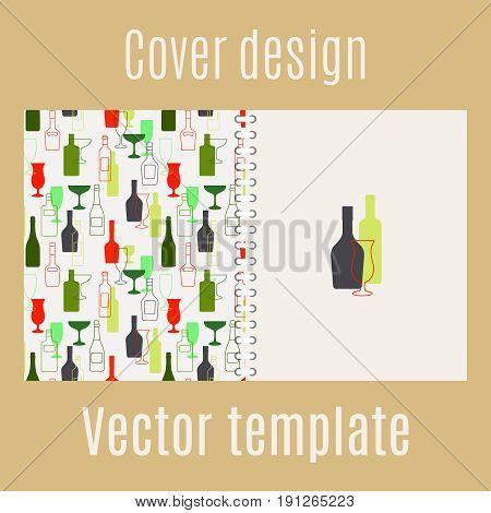 Cover design for print with bar drinks silhouette, vector illustration