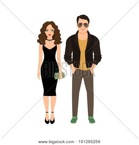 Fashionable couple isolated on white background, vector illustration