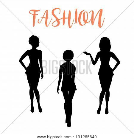 Fashion woman silhouette in different poses isolated on white background in tight dresses. Vector illustration