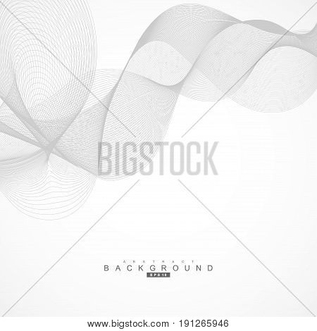 Abstract curved lines on grey background. Vector illustration