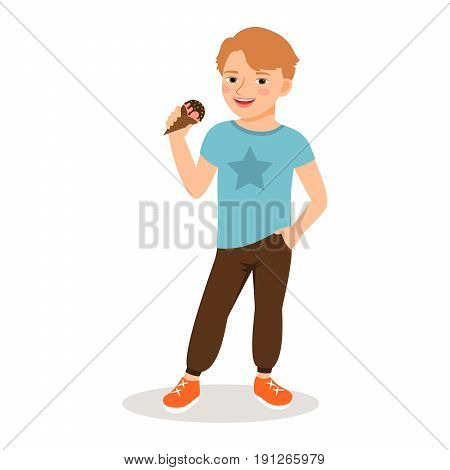 Cute boy with sweet icecream cone isolated on white background. Vector illustration