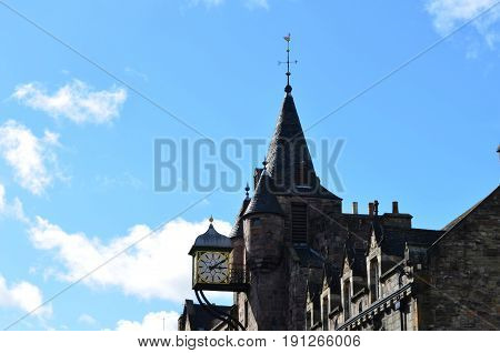 Old Town architecture in Edinburgh Scotland along the royal mile.
