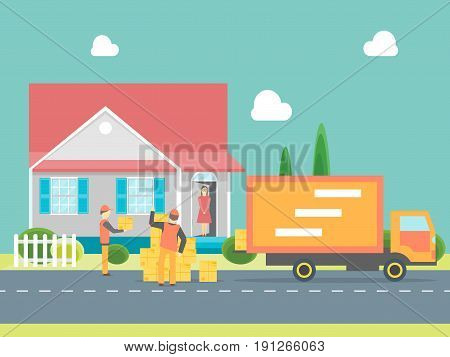 Cartoon Express Delivery Transportation Logistic Service Concept for Business Flat Style Design. Vector illustration