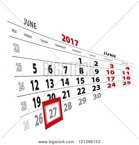 27 June Highlighted On Calendar 2017. Week Starts From Monday.