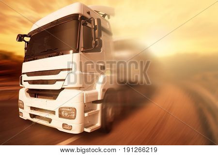 Freight Truck on Highway with sunset, Transportation concept.