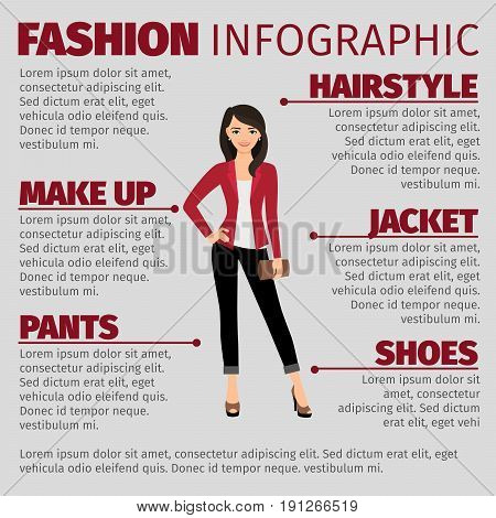 Fashion infographic with lady in red jacket and brown wallet. Vector illustration