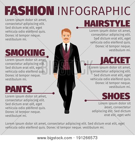 Fashion infographic with man in a smoking or tux. Vector illustration