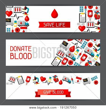 Banners with blood donation items. Medical and health care objects.