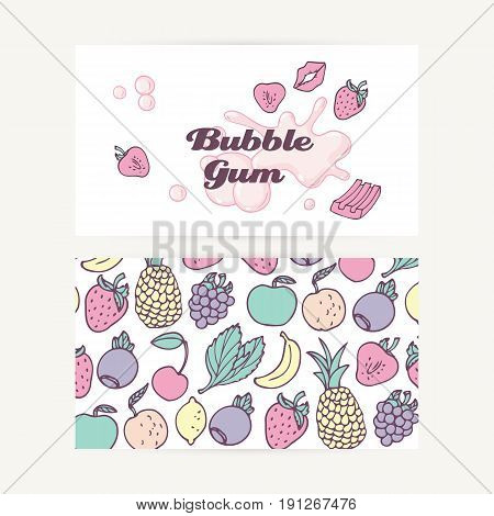 Business cards with hand drawn bubble gum and fruit, berry and mint flavors. Food background. Vector illustration