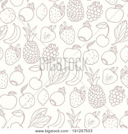 Hand drawn cartoon fruits seamless pattern. Fruit, multifruit and berry flavors. Outline food background. Vector illustration