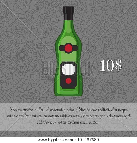 Alcoholic beverage Vermouth card template with price and patterned background. Vector illustration