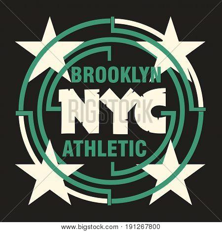 t-shirt New York Brooklyn Sport wear sport typography emblem t-shirt stamp graphics vintage tee print athletic apparel design