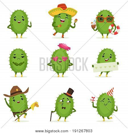 Cute cactus cartoon characters set, cacti activities with different emotions and poses, colorful detailed vector Illustrations isolated on white background